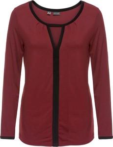 Bordowa bluzka bonprix BODYFLIRT w kształcie litery v z długim rękawem