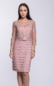 617a20c625 Różowa sukienka Semper z okrągłym dekoltem z długim rękawem