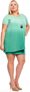 Zielona sukienka Fokus z krótkim rękawem oversize mini