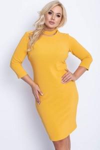 Żółta sukienka Royalfashion.pl ołówkowa z długim rękawem mini