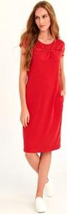 Czerwona sukienka Larime z dzianiny midi