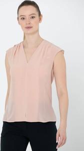 Bluzka Deni Cler bez rękawów z dekoltem w kształcie litery v w stylu casual