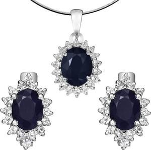 Braccatta KATE komplet srebrnej biżuterii szafiry kolczyki wisiorek