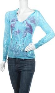 Niebieska bluzka Custo z długim rękawem z dekoltem w kształcie litery v w stylu casual