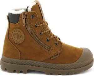 Brązowe buty zimowe Palladium ze skóry sznurowane