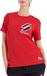 Czerwony t-shirt Superdry w sportowym stylu z bawełny z krótkim rękawem