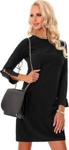 Czarna sukienka MERRIBEL w stylu casual midi z długim rękawem