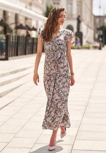 Fioletowa sukienka Renee z dekoltem w kształcie litery v w stylu boho maxi