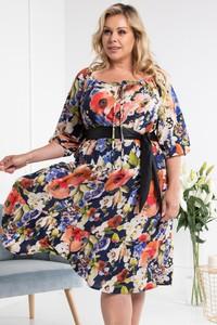 Sukienka KARKO dla puszystych z tkaniny z długim rękawem