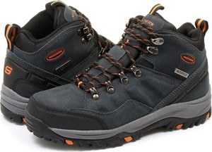 Szare buty zimowe skechers ze skóry ekologicznej