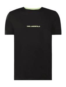 Czarny t-shirt Karl Lagerfeld z bawełny z krótkim rękawem