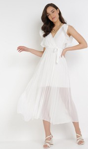 Sukienka born2be z dekoltem w kształcie litery v trapezowa maxi