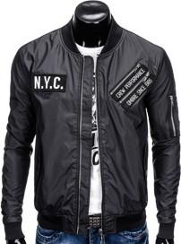 Ombre clothing kurtka męska przejściowa bomberka c349 - czarna