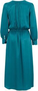 Turkusowa sukienka Soyaconcept z długim rękawem rozkloszowana midi