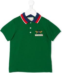 Zielona koszulka dziecięca Gucci Kids z bawełny