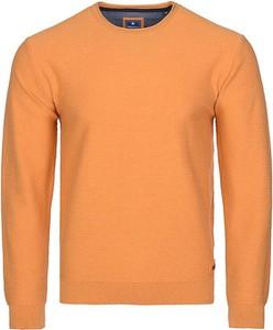 Pomarańczowy sweter Redmond z bawełny z okrągłym dekoltem