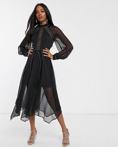 Czarna sukienka Asos Design z długim rękawem