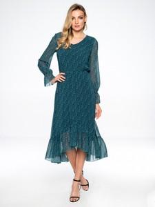 Turkusowa sukienka L'AF midi z długim rękawem z tkaniny