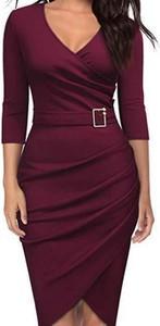 Fioletowa sukienka Cikelly z długim rękawem mini z dekoltem w kształcie litery v