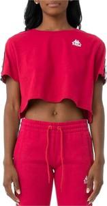 Różowy t-shirt Kappa z krótkim rękawem