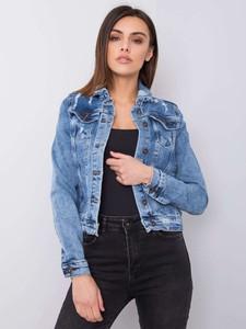 Niebieska kurtka Promese z jeansu w stylu casual