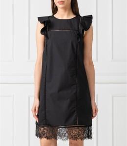 Czarna sukienka Twinset z okrągłym dekoltem z krótkim rękawem prosta