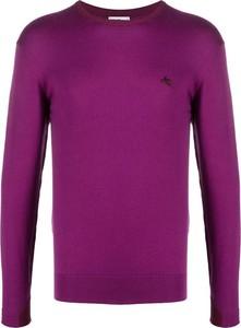 Fioletowy sweter Etro w stylu casual z wełny z okrągłym dekoltem
