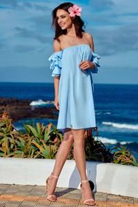 Niebieska sukienka Lemoniade z bawełny mini hiszpanka
