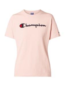 Różowa bluzka Champion z okrągłym dekoltem w stylu casual z krótkim rękawem