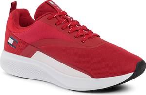 Czerwone buty sportowe Tommy Sport sznurowane