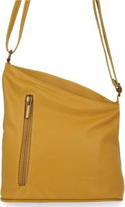 Żółta torebka VITTORIA GOTTI ze skóry na ramię w stylu casual
