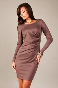 Fioletowa sukienka sukienki.pl z okrągłym dekoltem z bawełny