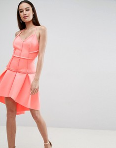 Pomarańczowa sukienka Asos Design z dekoltem w kształcie litery v z tkaniny gorsetowa
