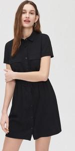 Czarna sukienka Cropp mini z krótkim rękawem szmizjerka