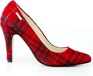 Czerwone szpilki Zapato w stylu glamour ze spiczastym noskiem ze skóry