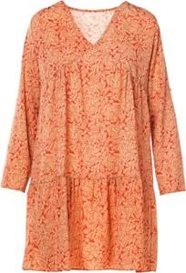 Pomarańczowa sukienka Multu z długim rękawem z dekoltem w kształcie litery v mini