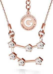 GIORRE BLIŻNIĘTA srebrny naszyjnik zodiak z kryształami Swarovskiego 925 : Kolor pokrycia srebra - Pokrycie Różowym 18K Złotem