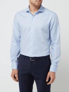 Niebieska koszula Eterna z długim rękawem z bawełny