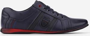 Granatowe półbuty Yourshoes sznurowane