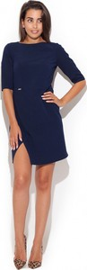 Niebieska sukienka Katrus mini z krótkim rękawem z okrągłym dekoltem