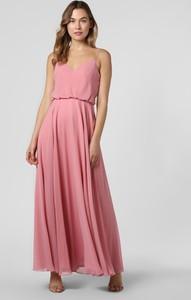 Różowa sukienka Laona z szyfonu na ramiączkach z dekoltem w kształcie litery v