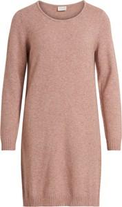 Różowa sukienka Vila midi w stylu casual oversize