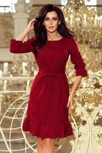 Czerwona sukienka NUMOCO z długim rękawem z okrągłym dekoltem
