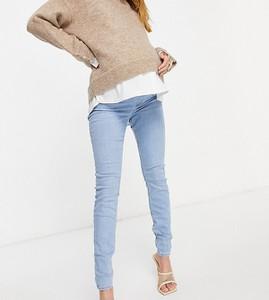 ASOS DESIGN Maternity – Ridley – Obcisłe jeansy z podwyższonym stanem i efektem sprania-Niebieski