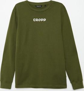 Zielona koszulka z długim rękawem Cropp z nadrukiem w młodzieżowym stylu