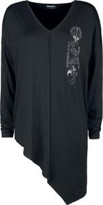 Czarna bluzka Emp z dekoltem w kształcie litery v z długim rękawem
