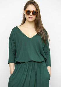 Zielona bluzka Freeshion z dekoltem w kształcie litery v