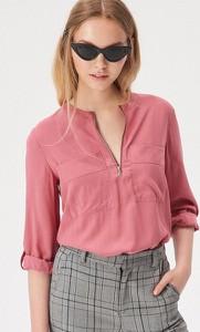 Różowa bluzka Sinsay z długim rękawem w stylu casual