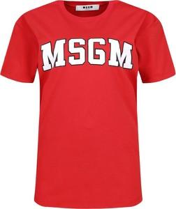 Czerwony t-shirt MSGM w młodzieżowym stylu