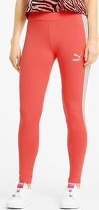 Czerwone legginsy Puma w sportowym stylu z bawełny